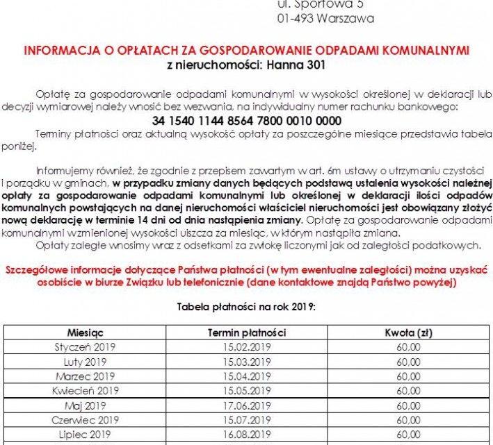 MZC WŁODAWA: Trwa doręczanie informacji o opłatach za gospodarowanie odpadami komunalnymi