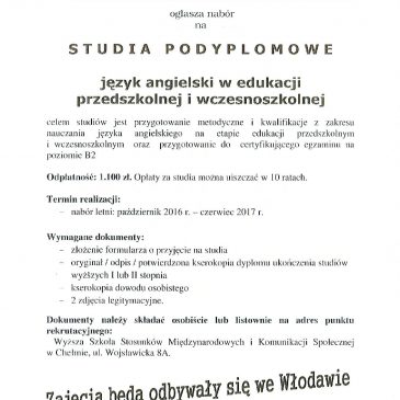 Studia podyplomowe we Włodawie!